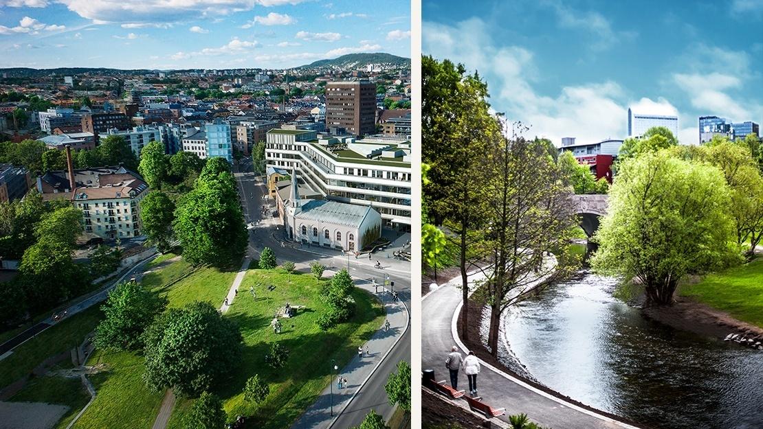 Venstre: Elgsletta - Høyre: Akerselva