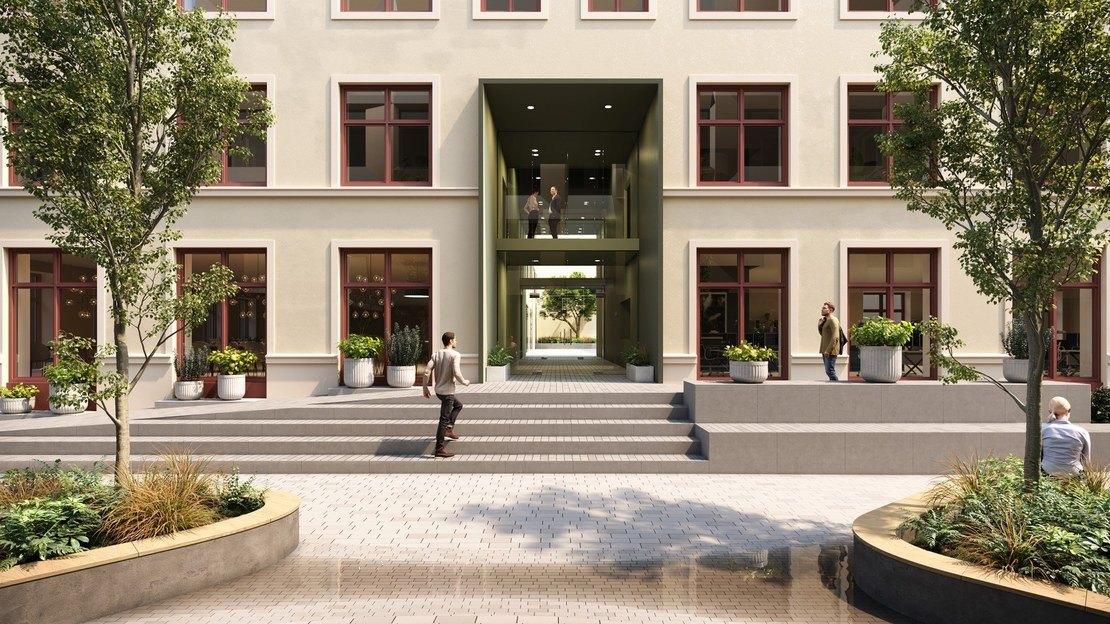 3D Illustrasjon: Inngang til Drivhuset fra bygulvet